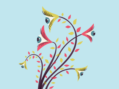 Flowers with staring eyes watch watching stare staring vector illustration odd weird floral flower eye eyes