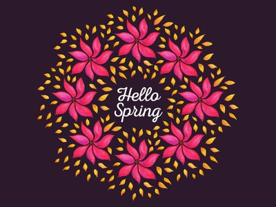 Hello Spring floral wreath nature illustration typogaphy watercolor pink flower abstract wreath seasonal botanical flora flower floral spring hello