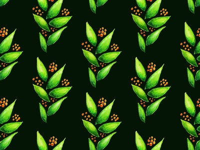 Abstract watercolour green plant pattern pattern illustration berries plant green watercolor abstrsact