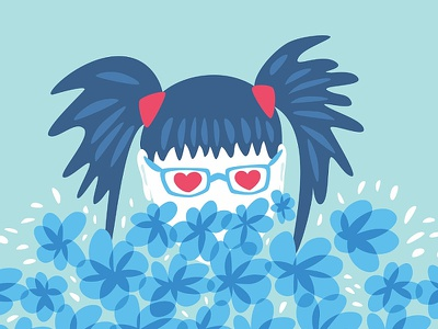 Girl waiting for spring in blue illustration heart floral eyeglasses glasses geek funny character flower vector spring girl blue