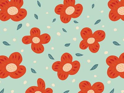 Simple orange flowers nature botanical illustration vector pattern minimalistic minimalist minimal floral flowers flower