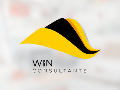 Logo design for W&N Consultants flat logo consultancy design yellow black depth