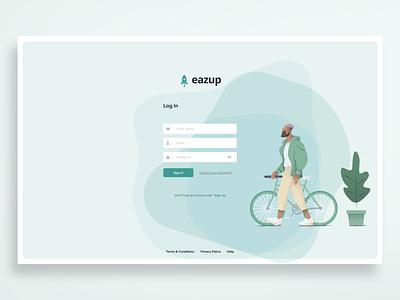 Eazup Log In productdesign design eazup website uxuidesign uidesign uxdesign uxui ui ux logo login saas ecommerce ecommerce app