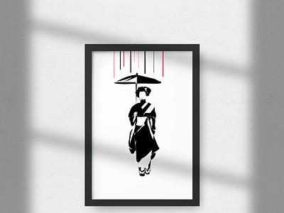GEISHA print woman femme artist artwork minimalist design japanese art japan japon geisha design art designs posters minimalism graphic minimalist illustration illustrator graphicdesign design graphic