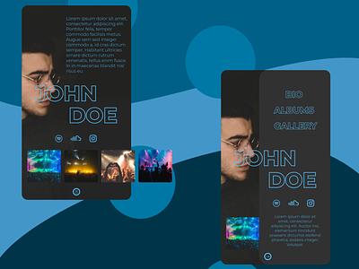 Artist profile mobile design mobile web ui design