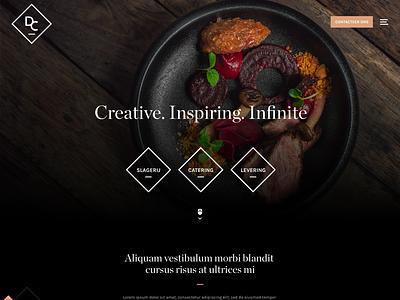 Catering branding square shapes webdesign design website catering food