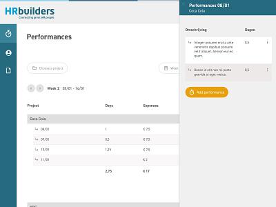 HRbuilders - Time registration webapplication dashboard design dashboard application design website webdesign