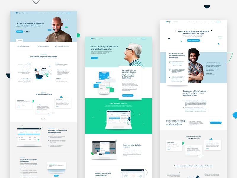 Dougs ux design uidesign pattern clean agency home app human colors home page landing
