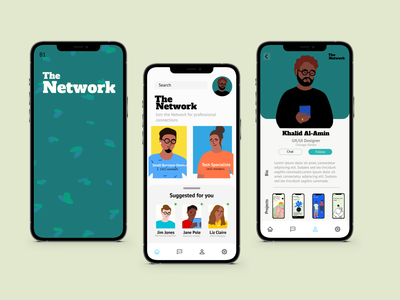 The Network networking network framer figma design figma ios app iosapp ios 12 uiuxdesign social media social network illustration uiux design ui ux