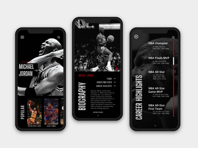 NBA Trading Cards michael jordan fitness fox sports espn biography mobile sports app sports nba finals branding uiux design uiuxdesign basketball basketball app nba app sports app nba uiux design ui ux