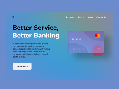 Better Banking uiuxdesign uiux design ui ux credit cards creditcard master card mastercard bank website banking website bank card bank app bank banking
