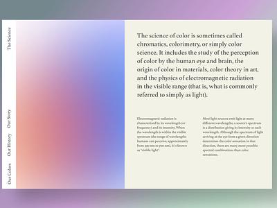 The Science of Colors layout colorscheme medium minimalism minimalistic minimalist trends 2020 trendy design webdesign colors business ux design typography hero section branding uiuxdesign uiux design ui ux