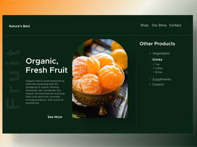 Nature's Best foodie food website web design webdesign online store online shop organic products organic food fruit ux design hero section branding uiuxdesign uiux design ui ux