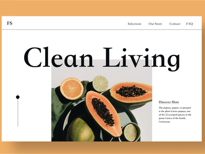 Clean Living Fruit Stand clean design shop ideas shop design shop fruits minimalism minimalist clean ui papaya fruit webdesign typography ux design hero section branding uiuxdesign uiux design ui ux