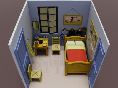 """""""Bedroom in Arles"""" Pixel Van Gogh 3"""