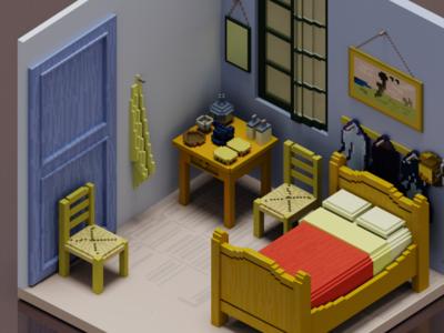 """""""Bedroom in Arles"""", Pixel Van Gogh 2"""