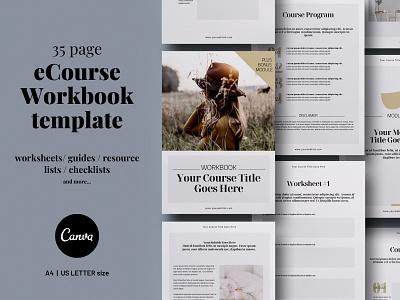 eCourse Workbook Canva template ebook cover ebook layout ebook design workbook template brochure template brochure layout brochure design typography canva 3.14co