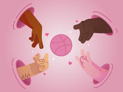 Invite inspiration friendship friends dribbble hand join community giveaway invite design flat vector illustration