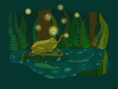 Toad and fireflies