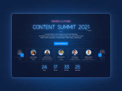 Content Summit by PlayPlay event onepage brand neon neo uiwebsite uidesign ui design branding