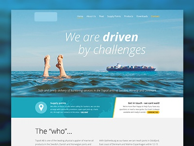 Website for a bunkering-company feet container boat water yellow blue website