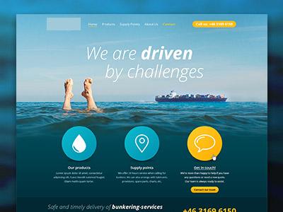 Website Wip - Rebound feet container boat yellow water blue website