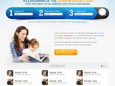 Au Pair Site Take 2 website blue nanny orange search user list frontpage au pair