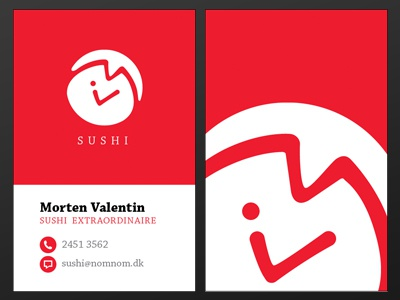 Sushi Extraordinaire sushi red japan fish logo business card