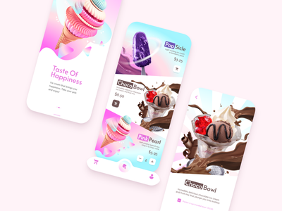Ice Сream Delivery Mobile App light mode light theme color bright iphone ios delivery ice cream 3d typography vector mobile app ios app design app branding ux ui design