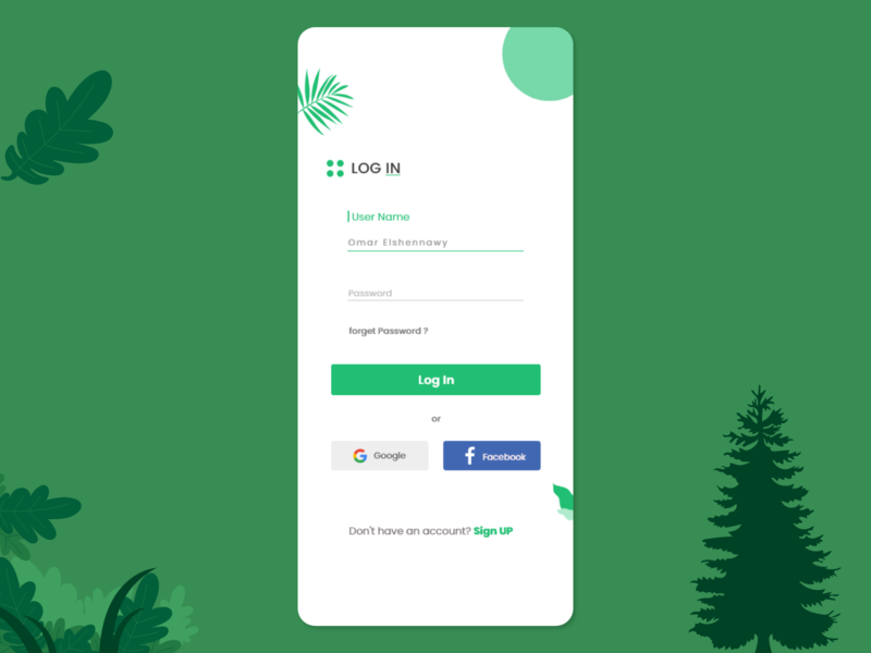 log in screen creative simple cute green design 2020 ui mobile iphone ios app