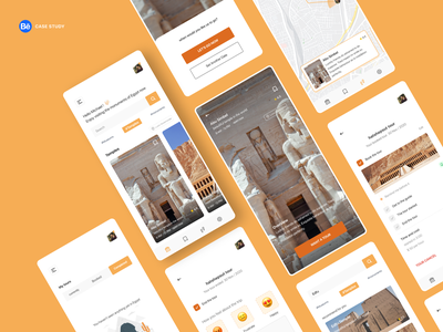 Tory Mobile app guides pharaohs egypt museum casestudy behance project animation orange design app clean product design app design iphone 2020 design ui app