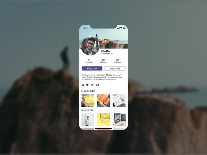 Daily UI #6: User Profile designer socialmedia visualdesign dailyui006 userprofile dailyuichallenge visual design dailyui app screen ux ui design