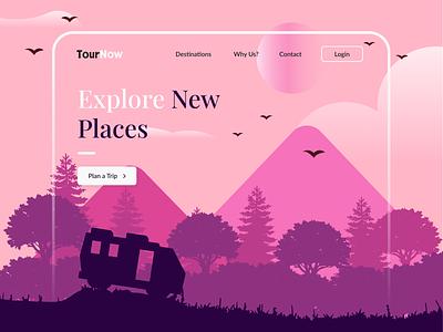 Travel Website Landing Page travel app tour tourism travel website travel illustrator typography design ux ui illustration digital art