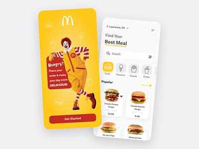 McDonald's Redesign Concept yellow dailyuichallenge dailyui mcdonalds redesign food order app minimal interface ios uidesign clean app ux ux design uiux food app food delivery app design app design ui