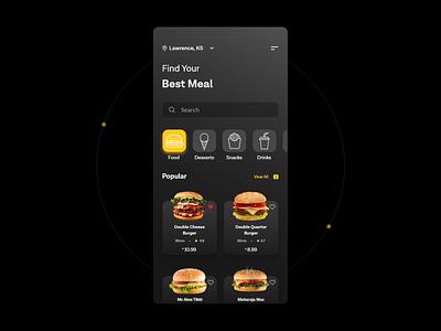 Fast Food App- Dark Theme minimal android ux design dark mode dark ui food delivery app food app fast food mcdonalds glassmorphism ui design ios interface app dailyuichallenge app design adobe ux ui design