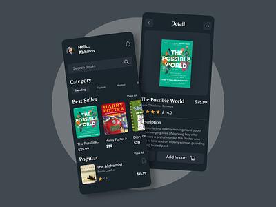 Book Store App- Dark Mode concept black daily ui dark mode dark ui adobe xd book app book shop ux design android ios app ui design interface app design dailyuichallenge adobe ux ui design