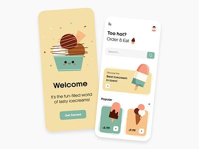 Ice cream App food app food delivery clean ui dailyui user interface ios android ice cream app concept ux designer ui designer app ice cream interface app design dailyuichallenge adobe ux ui design