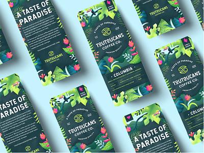 Toutoucan Coffee Branding graphic design packaging logo design digital painting vector illustration toucan jungle rainforest tropical package design coffee branding