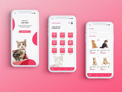 Cat Care and Adoption App product design interface pet care app cat care app cat shop pet care cat care
