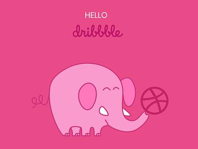 Hello Dribble! animal illustration design elephant first shot first design hello dribble