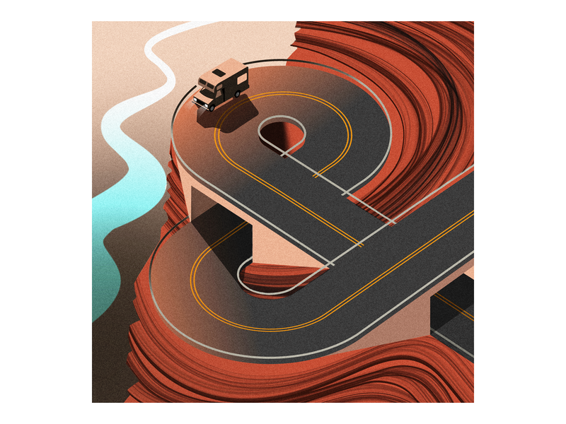 & rv ampersand procreate campervan road trip vacation illustrator grand canyon illustration