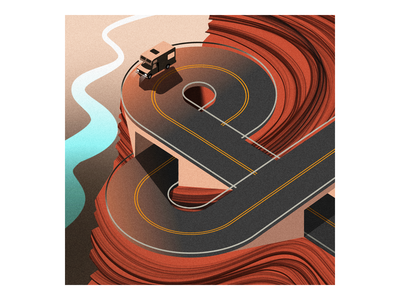 & rv ampersand procreate campervan road trip vacation illustrator grand canyon illustration