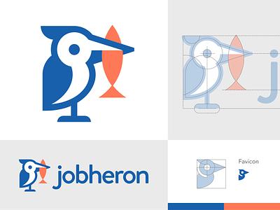 jobheron coral blue minimal illustration illustrator branding animal icon logo jobsite jobs recruitment fishing fish bird heron
