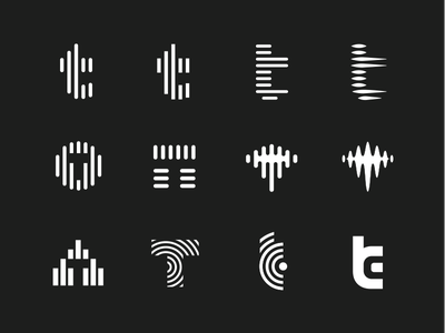 T lettermarks type t sound soundwaves radio negative space mic lines frequency equalizer broadcast audio