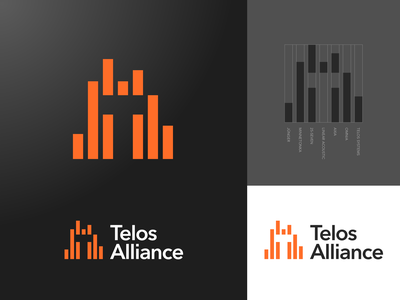 Telos Alliance radio t negative space icon logo type sound bars frequency equalizer broadcast audio
