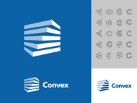 Convex logo design management app twist software blocks hvac data buildings commercial app negative space branding type vector icon logo