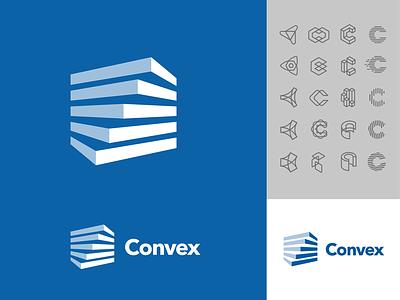 Convex logo design management app twist software blocks hvac data buildings commercial app negative space branding type vector icon logo