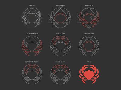 Cromer Crab process mascot heart sketch process sea ocean geometric branding illustration logo crab animal