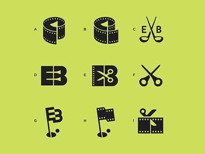 EB icon editing scissors eb movie flag film golf icon logo