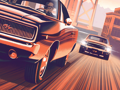 Bullitt 1960s bridge muscle car car illustration movie poster san francisco charger mustang bullitt poster procreate